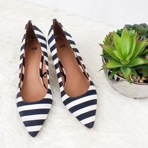 H&M Navy and White Striped Kitten Heels 39